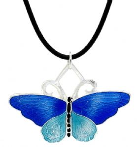 Blue Enamel Butterfly Fashion Necklace - Children's Fashion Necklace